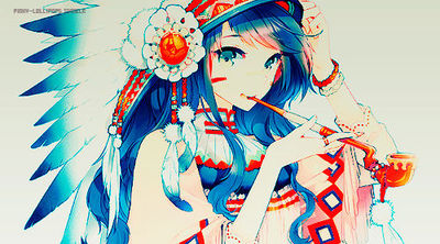 anime, anime girl, blue, colors, cool, girls, hispter, inde., native american, orange, pipe