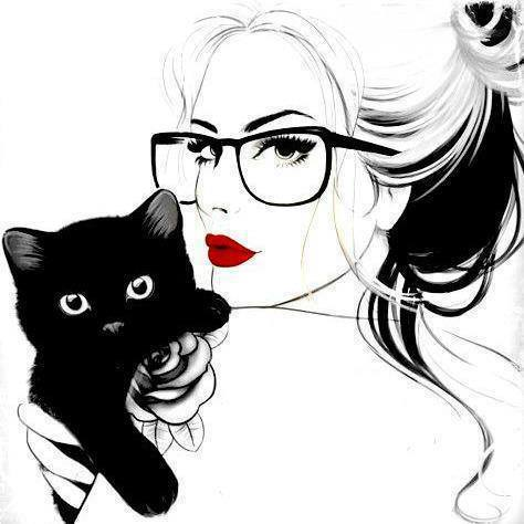 art, black, cat, drawing, girl, glasses, red, white