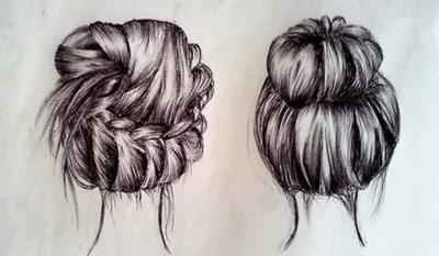 art, braid, bun, drawing, hair, hair styles, love, messy bun