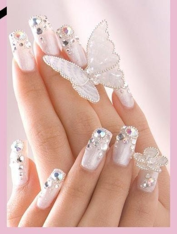 art, butterfly, diamond, nails, style, white