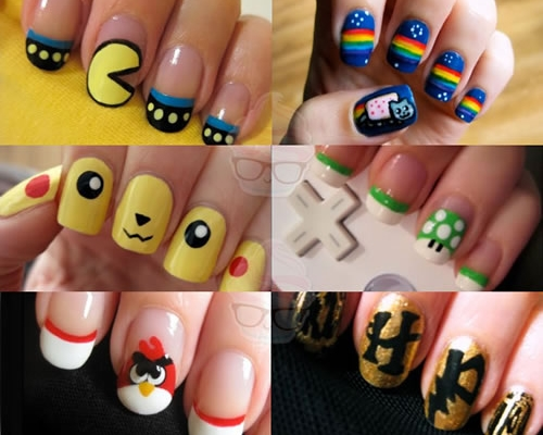 angry bird, art, coolest, cutepolish, design, harry potter, mushroom, nailart, nails, nyan cat, pikachu