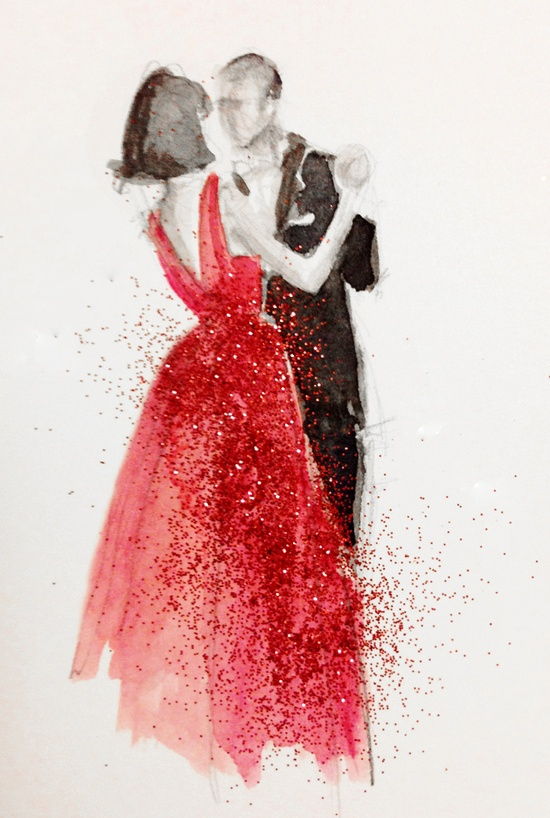 art, couple, dance, dancing, dress, fabolous, humen, love, lovely, nice, paint, painting, red, sketch, together