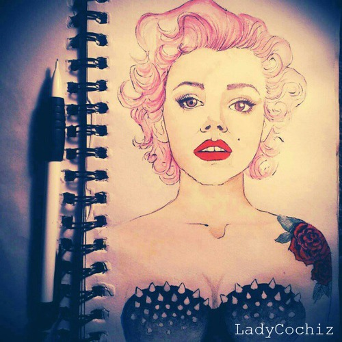 art, draw, galaxy, hair, hipster, illustration, ink, ladycochiz, marylin monroe, paint, piercing, pink hair, portrait, red lips, roses, sketch, sketchbook, swag, tattoo