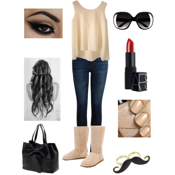 bag, boots, creation on polyvore, cute, eyeliner, fashion, hair, jeans, lipstick, outfit, sunglasses, ugg