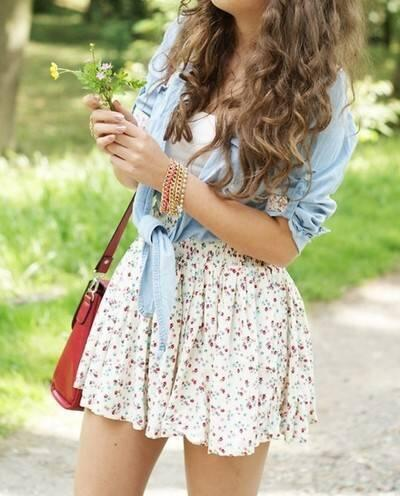 bag, brunette, clothes, curls, cute, denim, dress, fashion, flowers, girl, glower, hair, jacket, loose curls, outfit, purse, shirt, skirt, summer