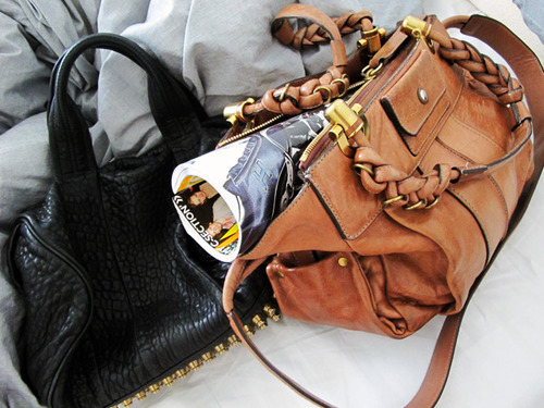 bags, beautiful, black, brown, classy, clothes, fashion, glamour, gold, outfit, pretty, studs, style