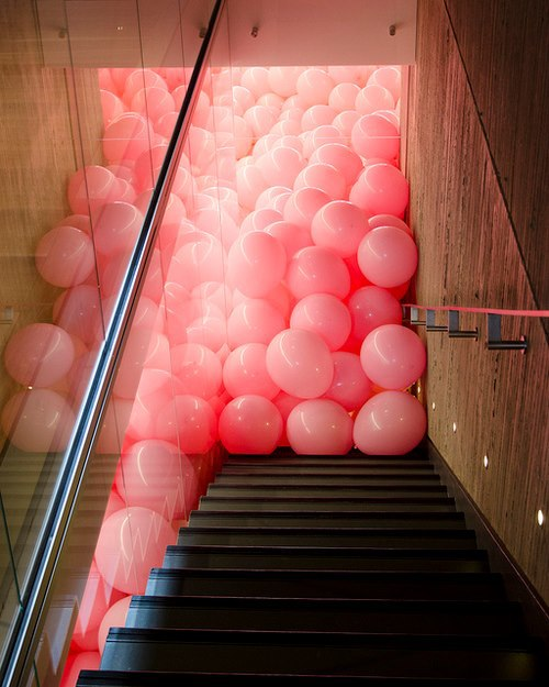 balls, color, cool, life, photo, photography, pink, quote, stair, weird