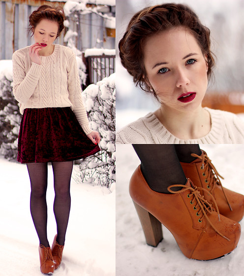beautiful, boots, brown, chic, clothes, clothing, cool, details, fashion, fashionable, girl, girly, gorgeous, high heel, lovely, nieve, outfit, pretty, pull, red, red lips, romantic, skinny, skirt, stockings, style, sweater, trend, trendy, wonderful