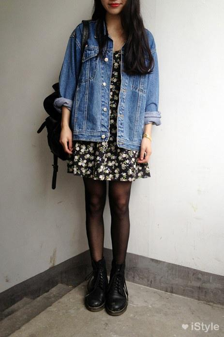 beautiful, boots, cute, denim jacket, dress, fashion, girl, grunge, hair, vintage