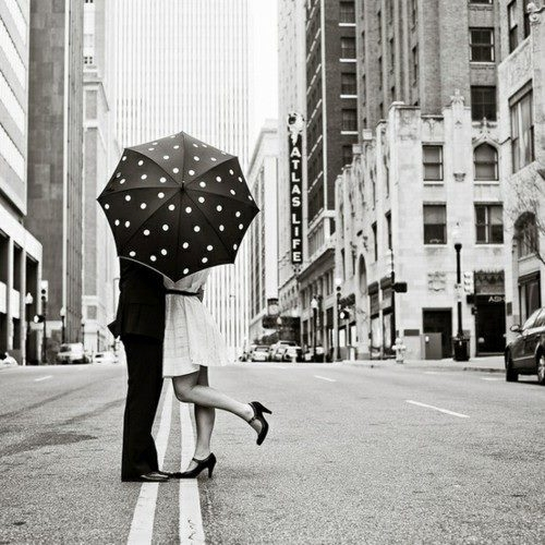 black and white, cities, couple, friendship, love, polka dots