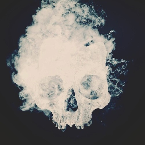 black, bnw, cigarettes, eyes, grunge, mouth, nose, skull, smoke, smoking, white