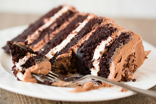 Chocolate Cake With Peanut Butter Filling And Marshmallow Topping