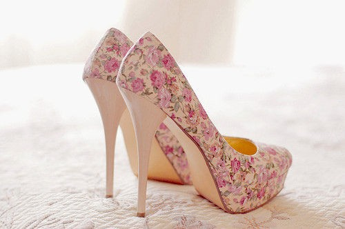 casual, cute, fashion, floral heels, flowers, high heel, nice, pink, shoes, style, swag, trendy, white, wonderful, woow