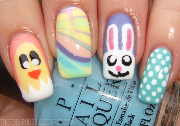beak, blue, bunny, chick, colors, cute, design, dots, ears, festive, love, marble, nails, nose, pastel, polka, shell, whit