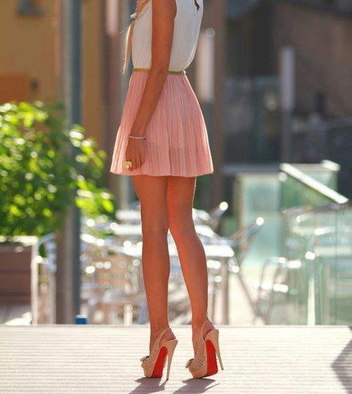 chiffon, christain laboutin, fashion, girl, girly, heel, heels, high heels, laboutins, legs, mini, outfit, pink, platform, platforms, pumps, skirt, spikes, studs