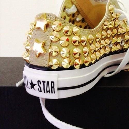 chuck taylors, converse, fashion, girly, gold spikes, punk, spikes, studs