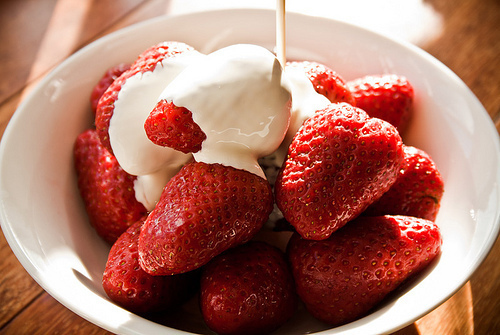 cream, cute, delicious, food, fruit, healthy, lovely, red, snacks, strawberries, summer, summertime, sun, tasty, treat