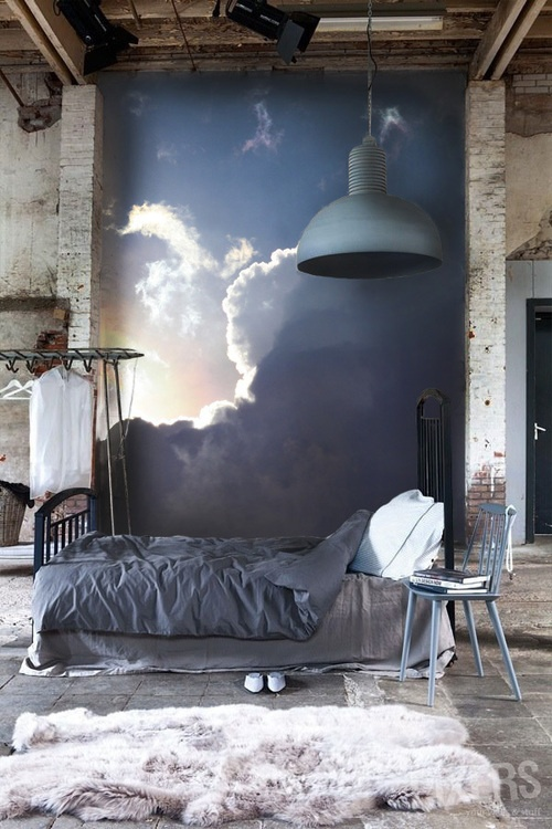 creative, cute, inspiration, loft, music, night, paint, room, sky, wall