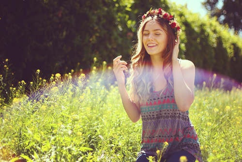 beautiful, field, flowers, girl, grass, hair, lens, light, love, model, modeling, nature, radiant, rainbow, smile, spring, summer