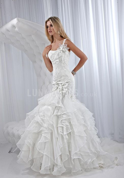 Organza Dropped One Shoulder Mermaid Wedding Dresses Image 783119 On Favim