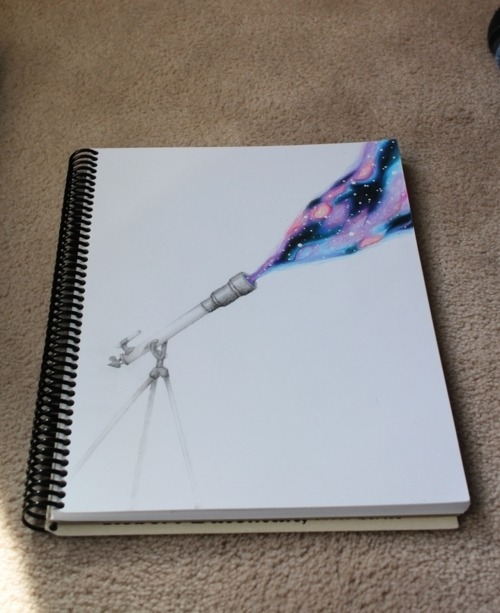 Photography universe drawing telescope cute image for Cool wall art drawings