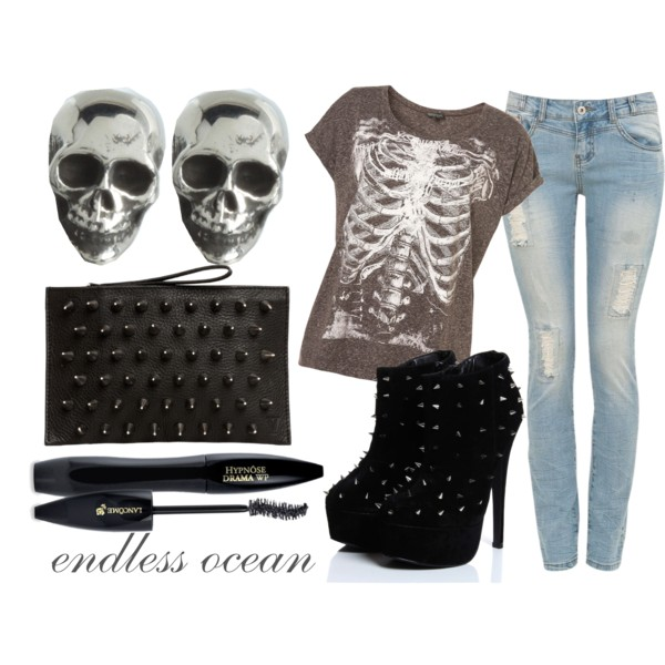 accessories, bag, booties, boots, clothes, clutch, cosmetics, earrings, endless ocean, fashion, graphic, jeans, jewelry, love, mascara, platform, polyvore, shoes, silver, skull, spike, studded, style, t-shirt, top, vogue