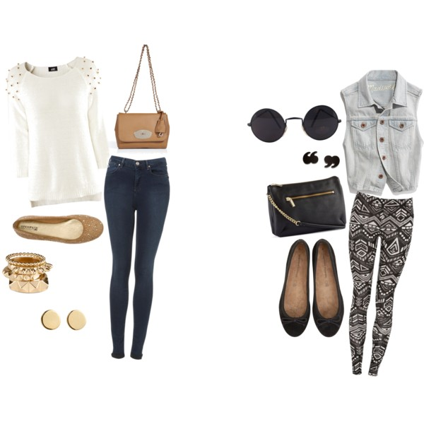 aztec, bag, ballet shoes, cool, earrings, gold, outfit, polyvore, rayban, shoes, sparkle, stud, studded, studded sweater, style, white, winter, wow