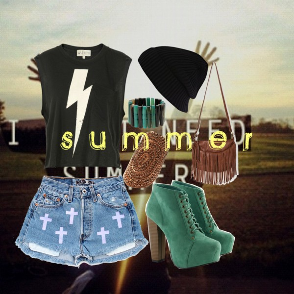 bag, bag fringes, bag with fringes, beanie, beanies, black, blue, bracelet, brown, clothes, cross, harry potter, jean, jeffrey cambell, jeffreys cambell, oceane07, polyvore, rings, shirt, short, streestyle, street style, summer, t shirt, teeshirt, tshirt