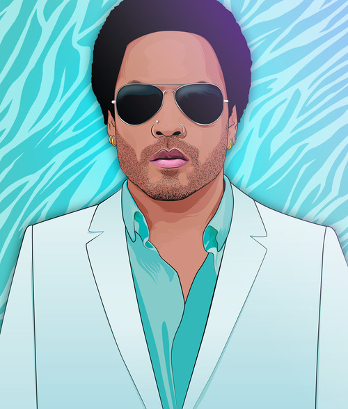 blue, illustration, kravitz, kravitz art, lenny kravitz, piercing, portrait, sheila wend, summer, sunglasses, vector portrait