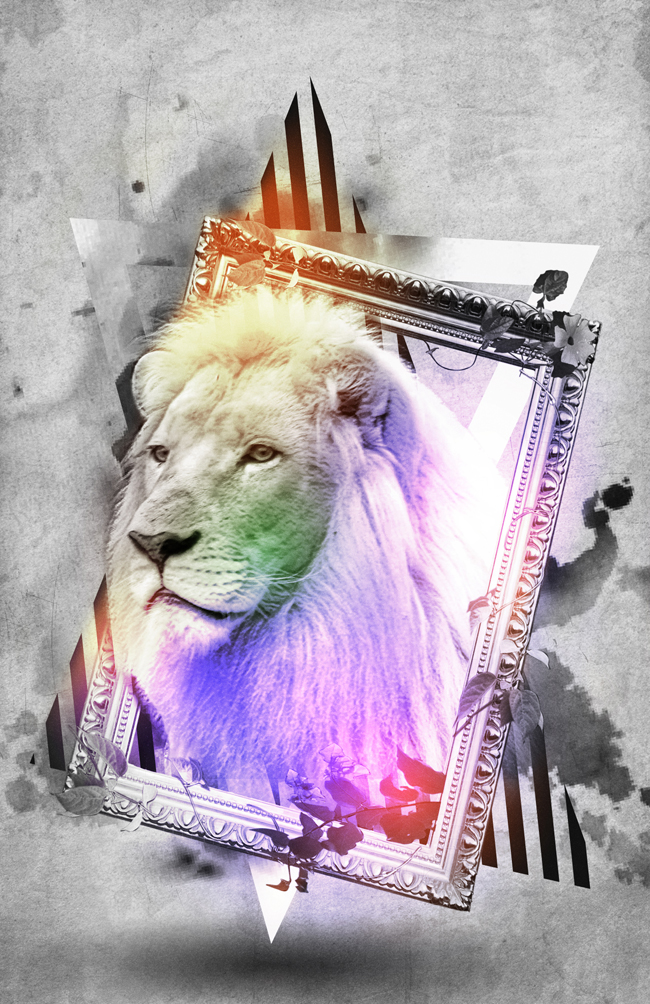 awesome, frame, graphic design, kassel, light colours, lion, photo manipulation, sheila wend