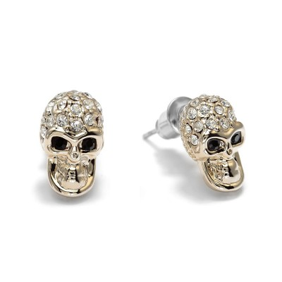 cool, fashion, girl and gold skull stud earrings